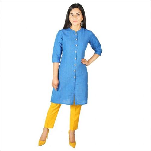 Women Light Blue Cotton Kurti For Girls