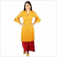 Women Yellow Color Cotton Kurti With Skirt Palazzo