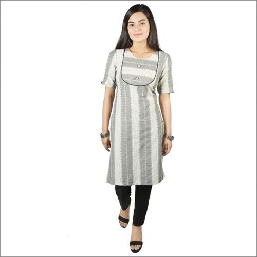 Women White Grey Cotton Kurti With Rayon Pant