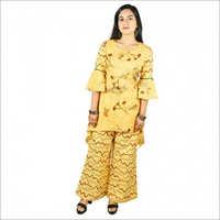 Women's Yellow Flower Printed Cotton Kurti With Palazzo