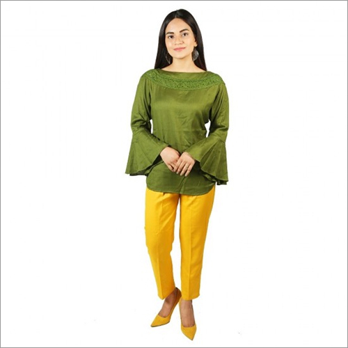 Women Green Color Rayon Top