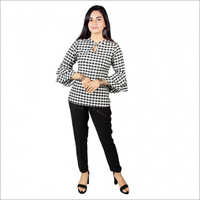 Women's Black White Color Cotton Top With Rayon Pant