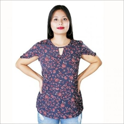 Womens & Girls Blue Red Floral Print Top