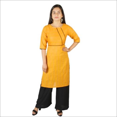 Women Yellow Cotton Kurti