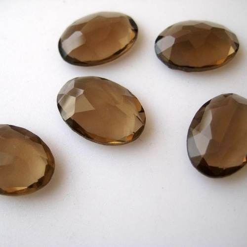 6x8mm Smoky Quartz Rose Cut Oval Loose Gemstones