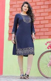 Womanica Gold Print Yoke Kurti