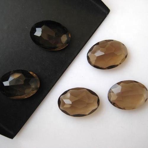 10x12mm Smoky Quartz Rose Cut Oval Loose Gemstones