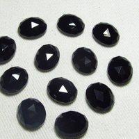 4x6mm Black Onyx Rose Cut Oval Loose Gemstones