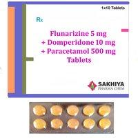 Flunarizine 5mg + Domperidone 10mg + Paracetamol 500mg Tablets