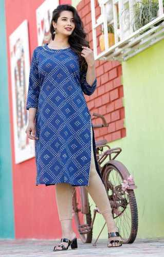 Cotton Hand Work Bandhej Printed Kurti