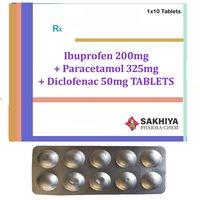 Ibuprofen 200mg + Paracetamol 325mg + Diclofenac 50mg Tablets
