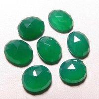 9x11mm Green Onyx Rose Cut Oval Loose Gemstones