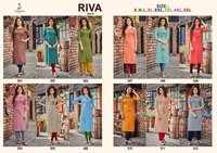 Riva Vol-05 Two Tone Slub Cotton Kurtis