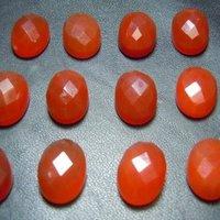 6x8mm Red Onyx Rose Cut Oval Loose Gemstones