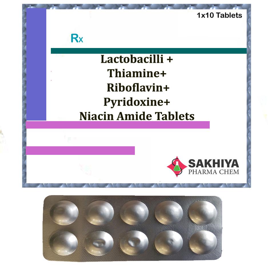 Lactobacilli +Thiamine+ Riboflavin+ Pyridoxine+ Niacin Amide Tablets