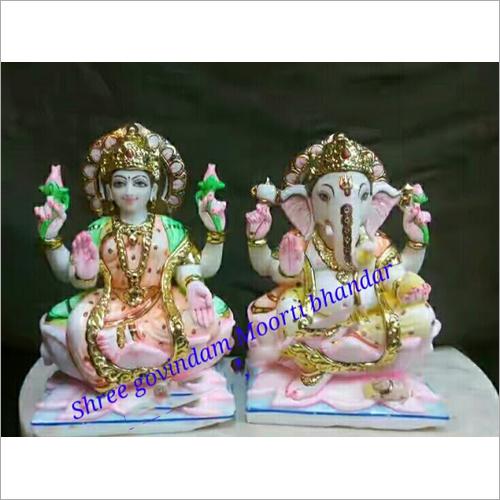 Marble Laxmi And Ganesh Statue Set