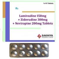 Lamivudine 150mg + Zidovudine 300mg + Nevirapine 200mg Tablets