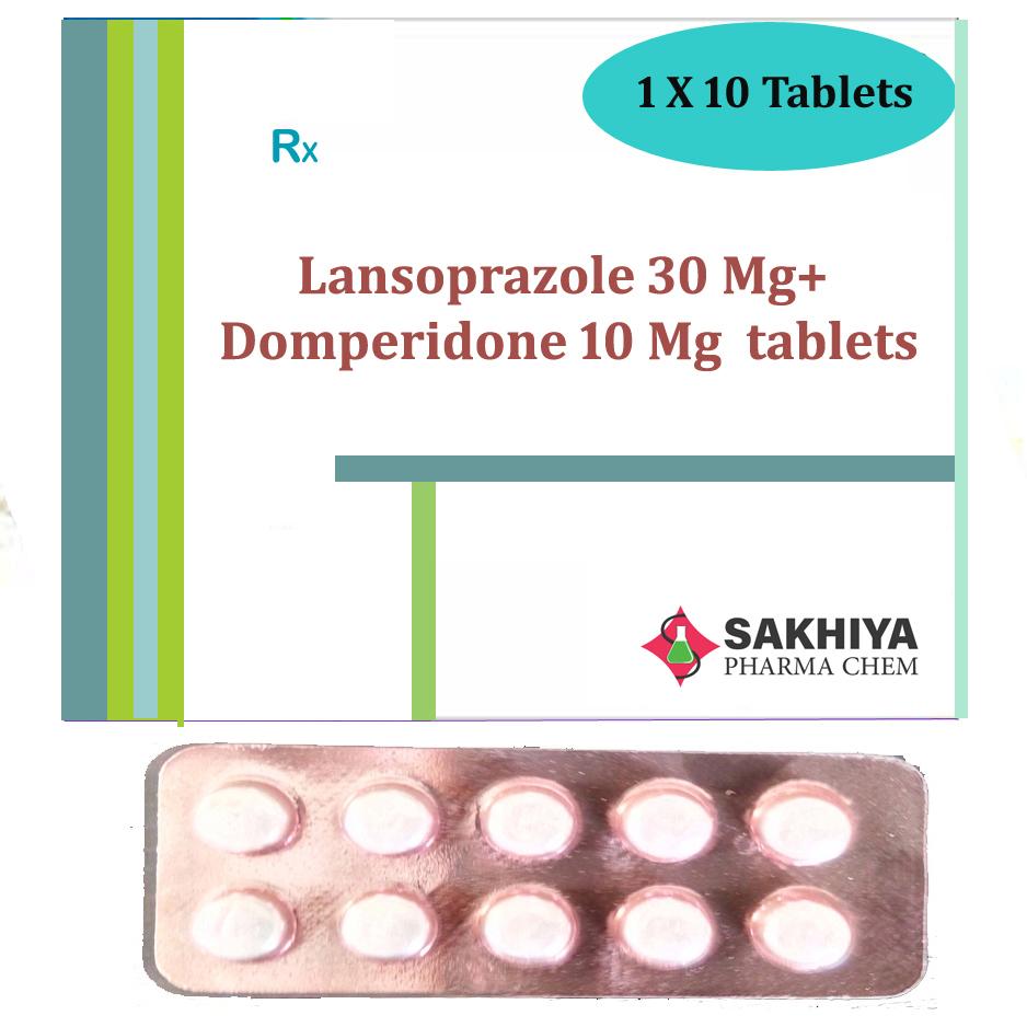 Lansoprazole 30mg+ Domperidone 10mg Tablets
