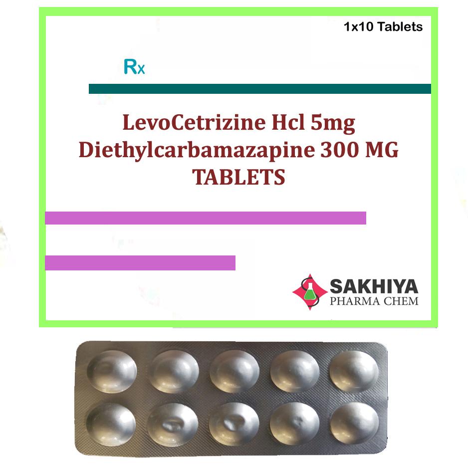 Levocetirizine Hcl 5mg + Diethylcarbamazine 300mg Tablets
