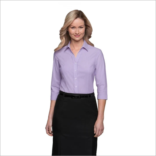 Ladies City Stretch Pinfeather Blouse 3-4 Sleeve