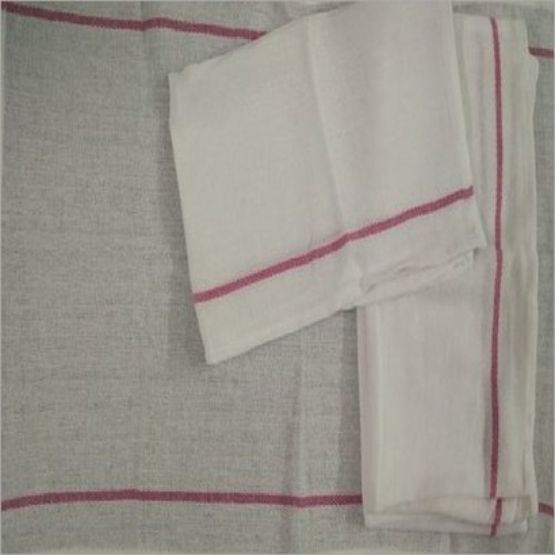 White & Red Two Stripe Kitchen Towel