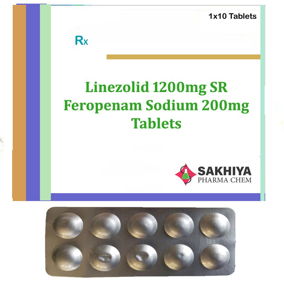 Linezolid 1200mg SR + Feropenem Sodium 200mg Tablets