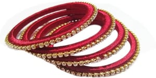 Yuktha Eternals Silk Thread with White Stone Bangles