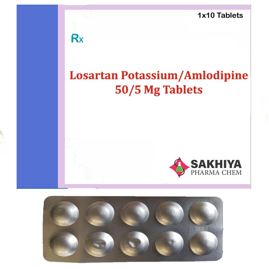 Losartan Potassium 50mg + Amlodipine 5mg Tablets