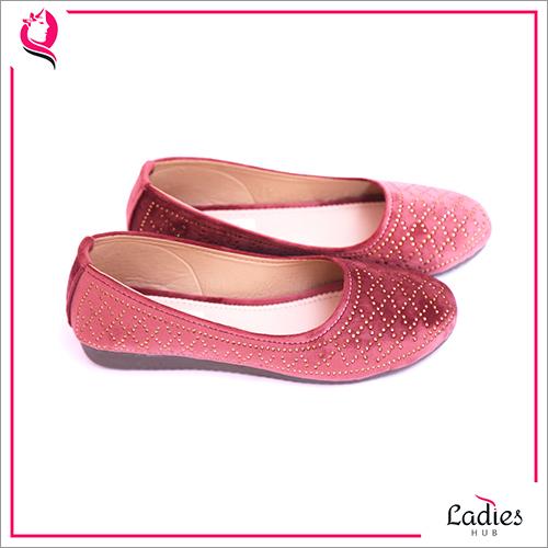 Embellished Red Velvet Ladies Ballerina Shoes