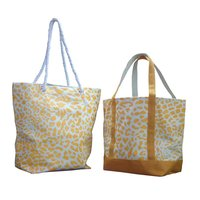 12 Oz Natural Canvas Printed Tote Bag With Jute Handle & Base