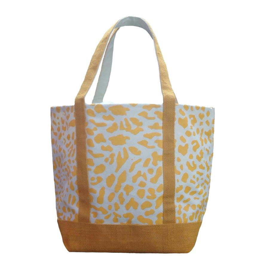 12 Oz Natural Canvas Printed Tote Bag With Jute Handle & Base