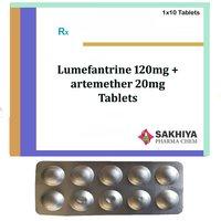 Lumefantrine 120mg + artemether 20mg Tablets