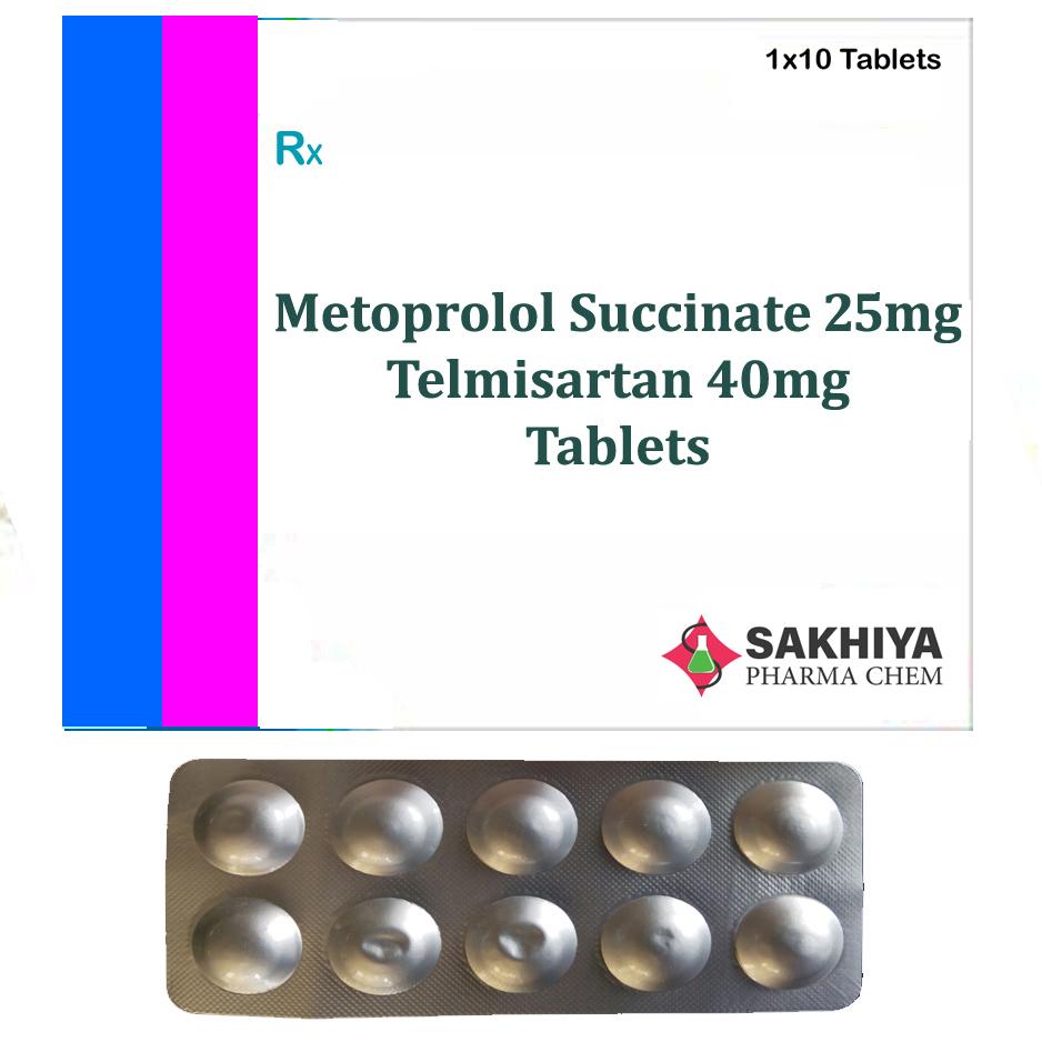 Metoprolol Succinate 25mg + Telmisartan 40mg Tablets
