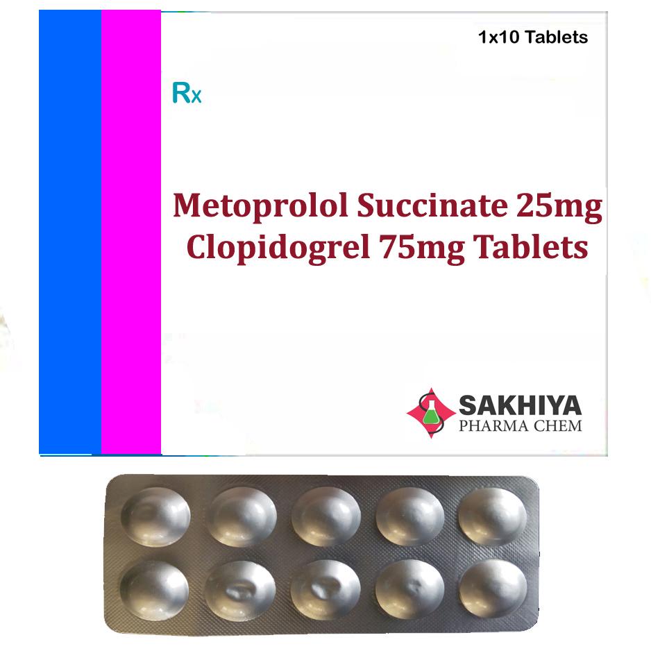 Metoprolol Succinate 25mg + Clopidogrel 75mg Tablets