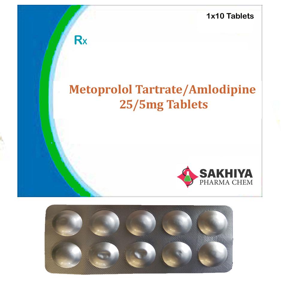 Metoprolol Tartrate 25mg + Amlodipine 5mg Tablets