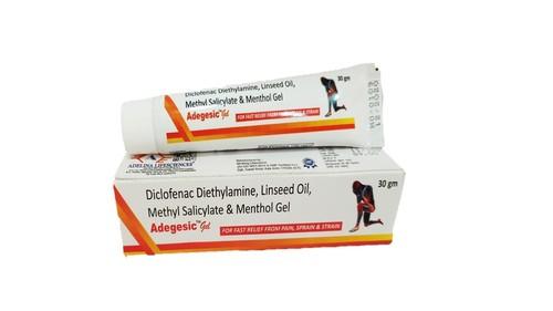 Diclofenac Diethylamine 1.16% W/w, Methyl Salicylate 3.00% W/w , Benzyl Alcohol 1.00%, Linseed Oil  3.00% W/w & Menthol  5.00% W/w Gel