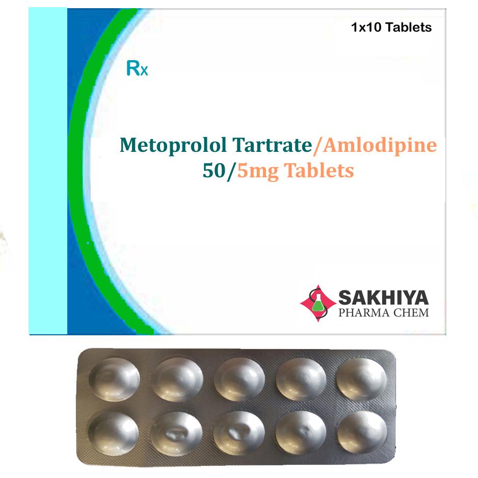 Metoprolol Tartrate 50mg + Amlodipine 5mg Tablets