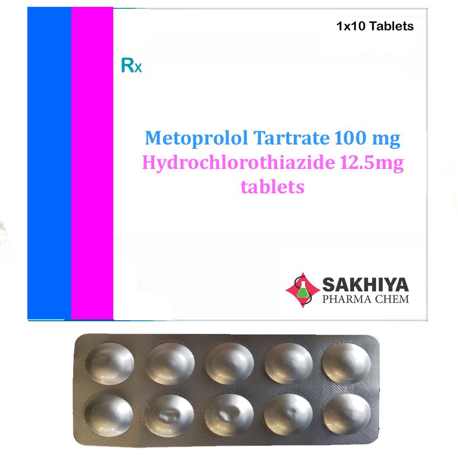 Metoprolol Tartrate 100mg+ Hydrochlorothiazide 12.5mg Tablets