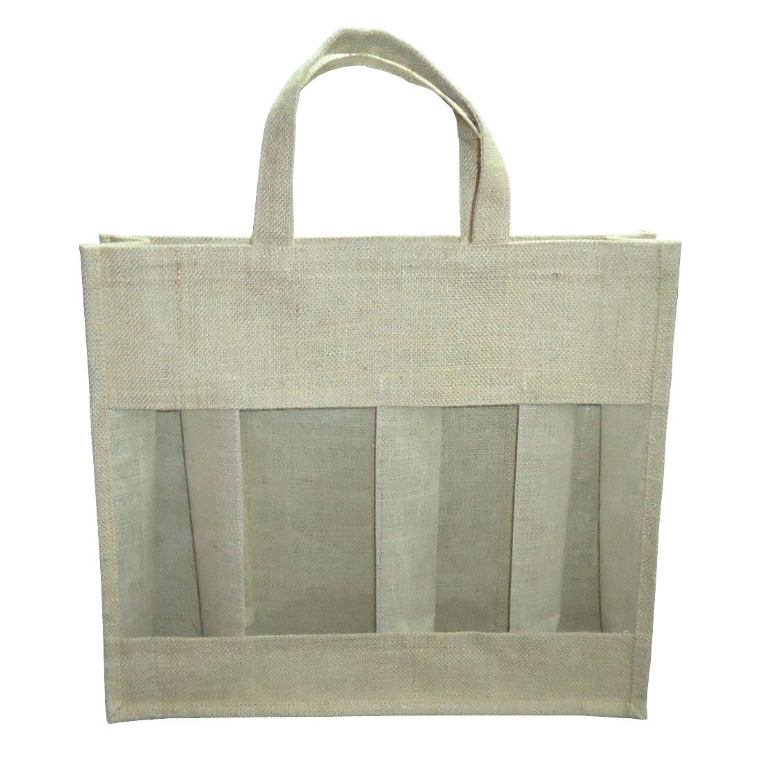 Pp Laminated Jute Four Bottle Bag