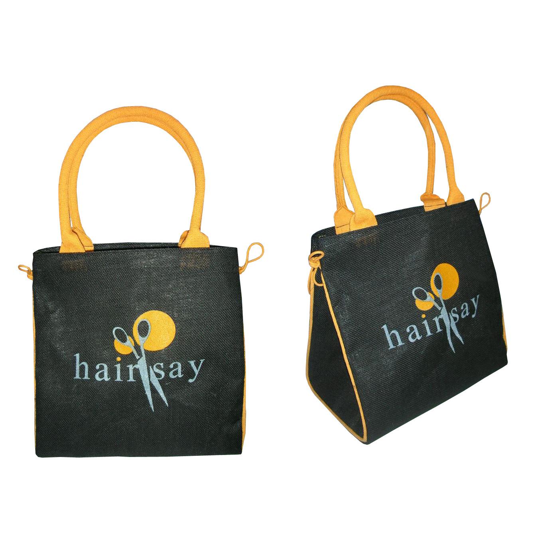 Pp Laminated Jute Shopping Bag With Inside Hanging Zip Pocket