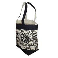 12 Oz Natural Canvas Zebra Print Boat Bag
