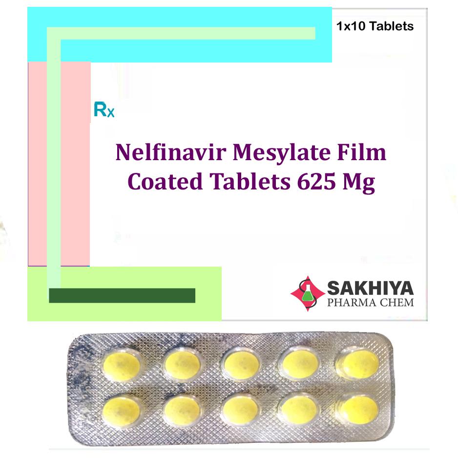 Nelfinavir Mesylate film coated  625mg Tablets