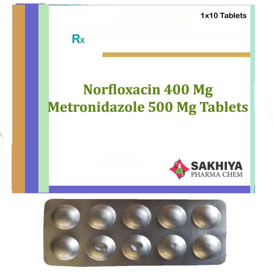 Norfloxacin 400mg + Metronidazole 500mg Tablets