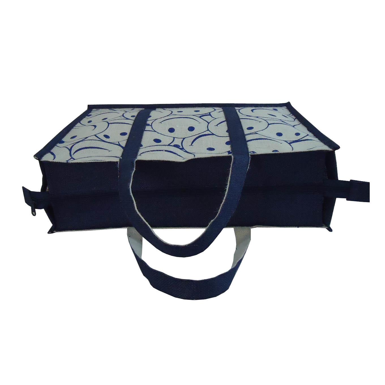 Pp Laminated Jute Bag With Jute Handle & Top Zip Closure