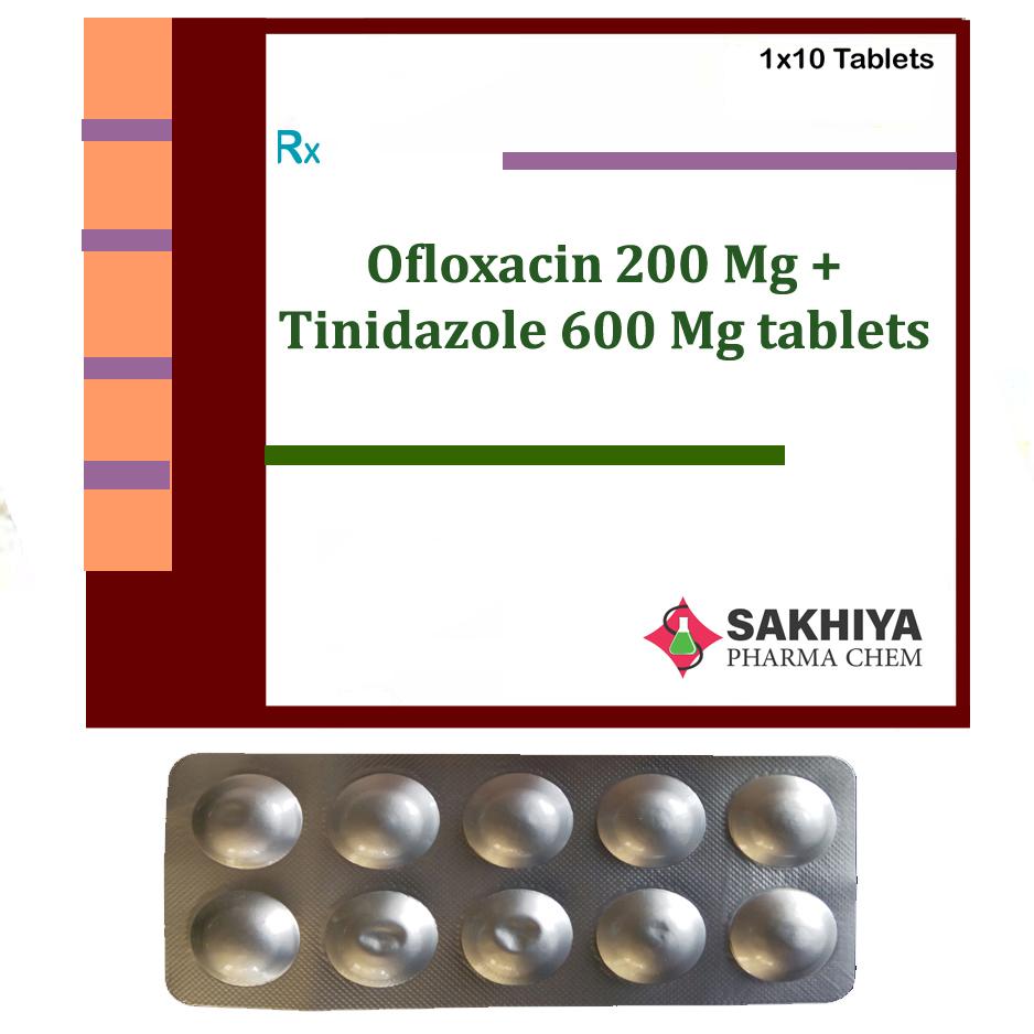 Ofloxacin 200mg + Tinidazole 600mg Tablets