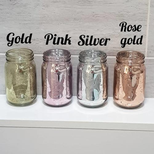 sahil overseas glass jar and holder set of 4 pcs mercury finish and color