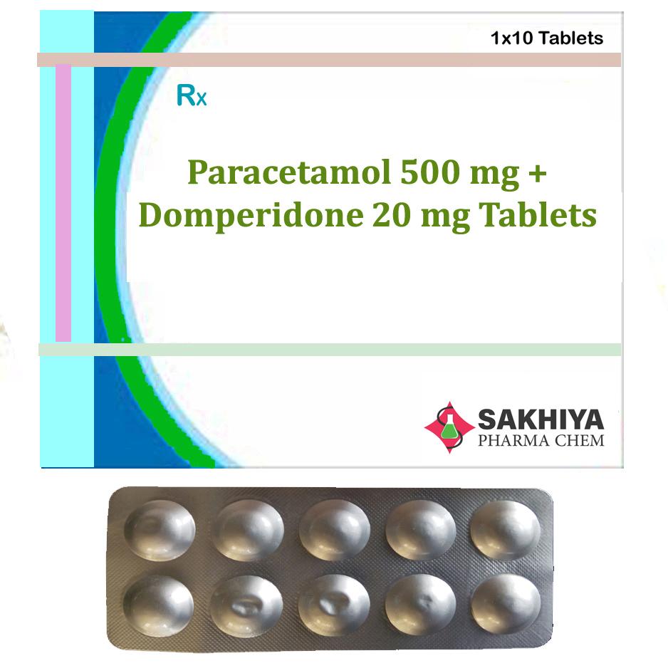 Paracetamol 500mg + Domperidone 20mg Tablets