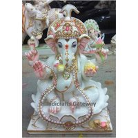Very Beautiful Marble Gauri Putra Ganesh Statue