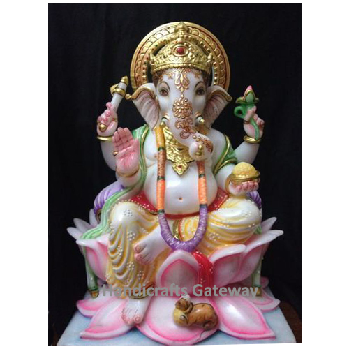 Multicolor Solid Marble Lord Ganesha Statue For Home
