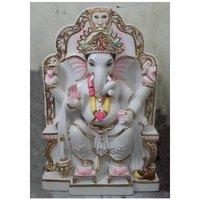 White Marble Ganesh With Singhasan Moorti